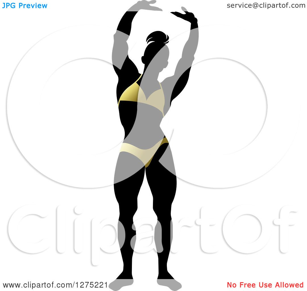 1080x1024 Clipart Of A Silhouetted Stretching Female Bodybuilder In A Gold