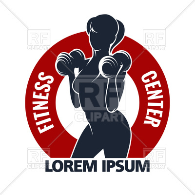 400x400 Fitness Club Or Gym Emblem With Training Muscled Woman Royalty