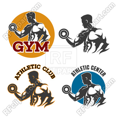 400x400 Gym Or Fitness Emblems With Bodybuilder Royalty Free Vector Clip