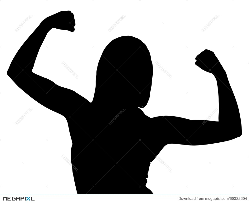 800x653 Silhouette Of Female Bodybuilder Flexing Stock Photo 60322804