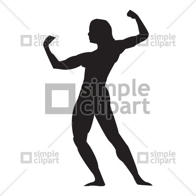 400x400 Silhouette Of Bodybuilder Vector Image