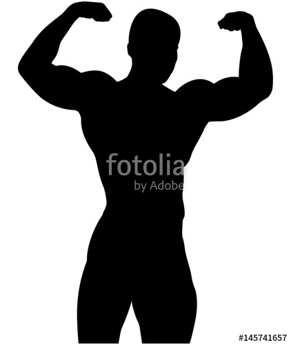 422x500 Athletic Bodybuilder Pose Double Biceps Black Silhouette Stock