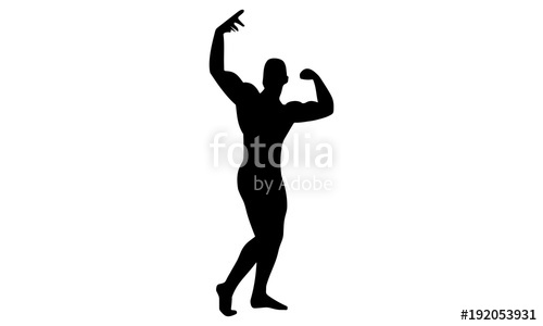500x300 Male Bodybuilding Silhouette Image. Stock Image And Royalty Free