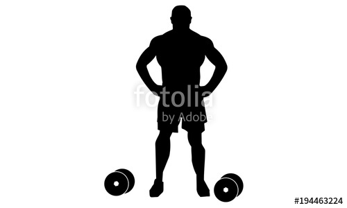 500x300 Picture Of Male Bodybuilding Silhouette During Practice Stock