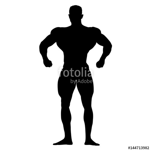 500x500 Bodybuilder Standing And Posing, Vector Silhouette Stock Image