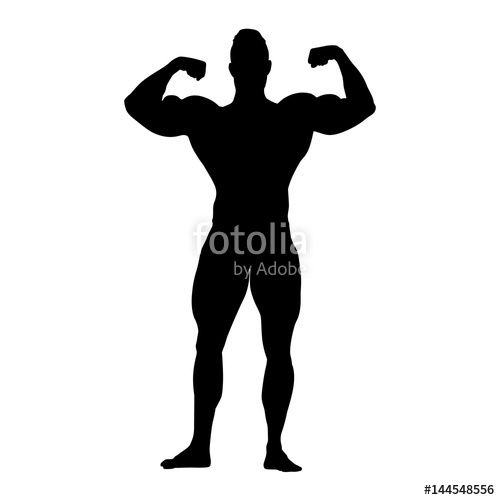 500x500 Bodybuilder Vector Silhouette. Strong Standing Man With Big