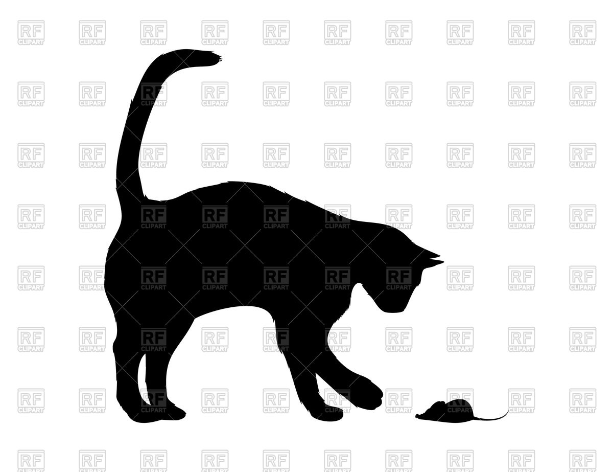 1200x923 Silhouette Of Cat With Mouse Royalty Free Vector Clip Art Image