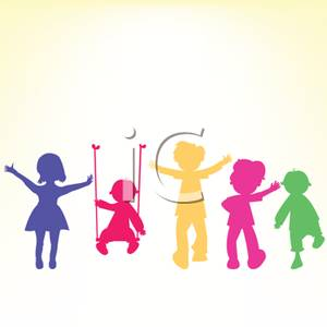 300x300 Colorful Silhouette Of Five Children Playing