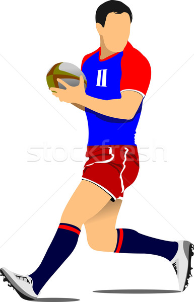 385x600 Rugby Player Silhouette. Vector Illustration Vector Illustration