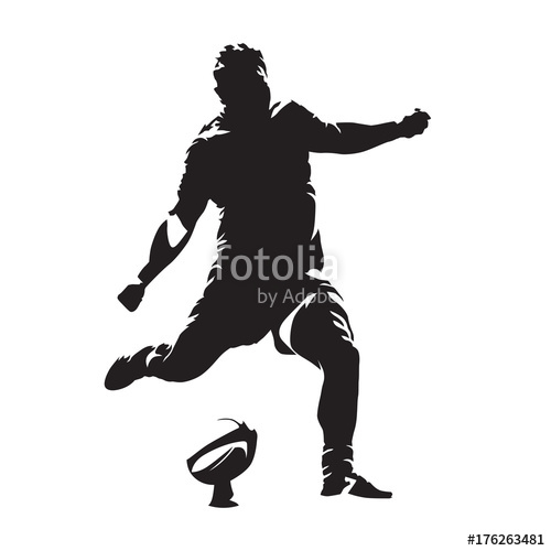 500x500 Rugby Player Kicking Ball, Abstract Vector Silhouette Stock Image