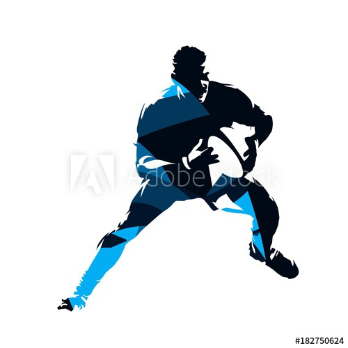 500x500 Running Rugby Player, Abstract Blue Vector Silhouette