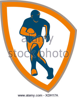 300x383 Illustration Of Silhouette Of Rugby Player Running Passing Fending