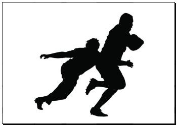 350x250 Print Of Side Profile Of Rugby Player Tackling Runner With Ball