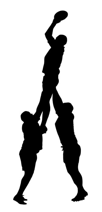 337x700 Rugby Lineout Jumper Support Silhouette Wall Mural We