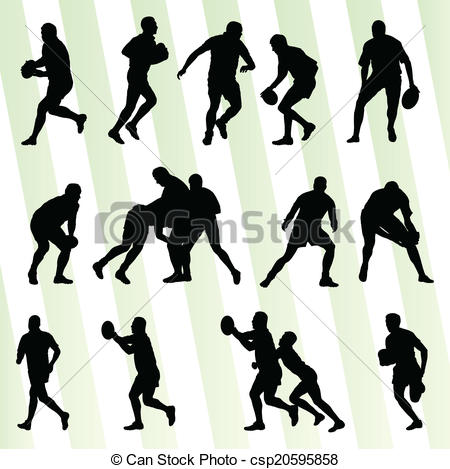 450x469 Rugby Player Man Silhouette Vector Background Set For Poster