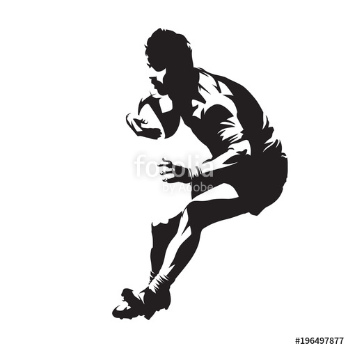 500x500 Rugby Player With Ball, Team Sport. Isolated Vector Silhouette