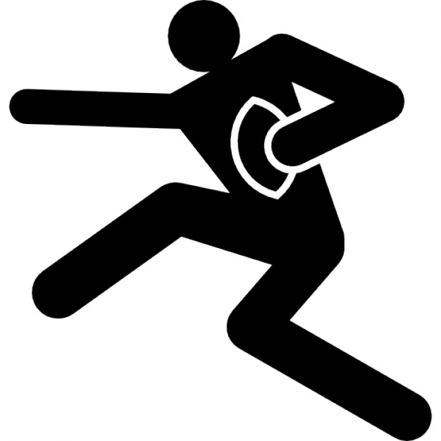 626x626 Rugby Player With The Ball In A Hand Icons Free Download