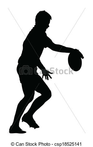 298x470 Side Profile Of Rugby Player Releasing Ball To Kick Eps Vector