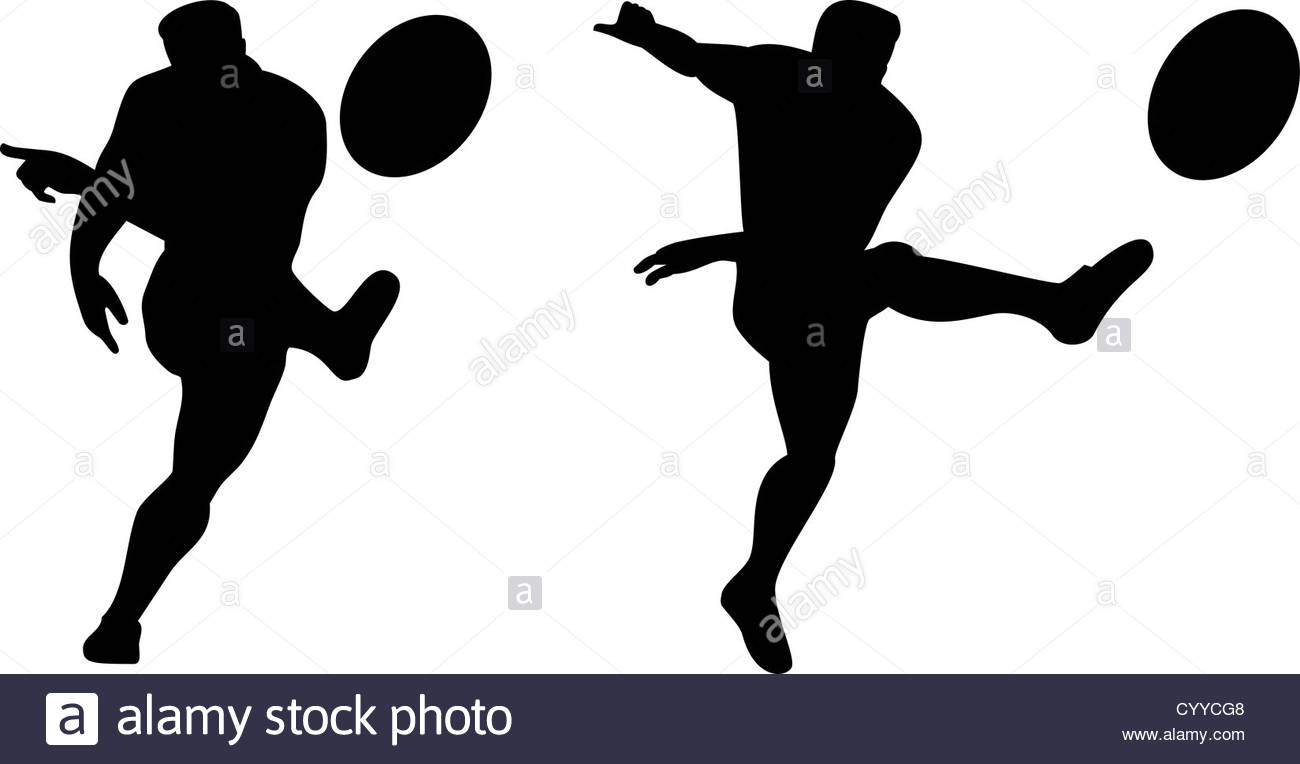 1300x764 Illustration Of A Rugby Player Kicking Ball Front View Isolated