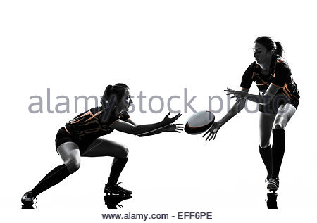 450x317 Rugby Women Players Team In Silhouette Isolated On White Backround