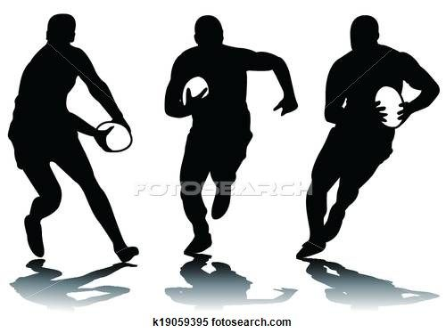 500x374 Clipart Of Three Rugby Silhouette K19059395