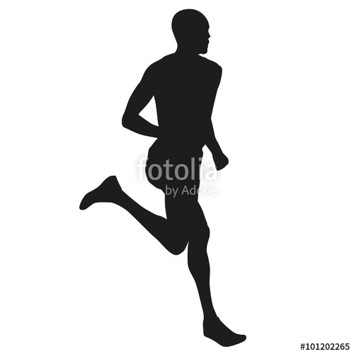 500x500 Runner Silhouette, Vector Running Man Stock Image And Royalty