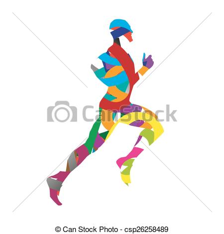 450x470 Abstract Vector Runner Silhouette. Red, Blue, Yellow, Vector