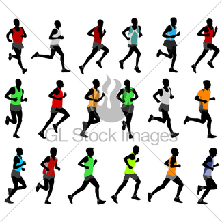325x325 Runners In Color Sportswear Silhouettes Collection Gl Stock Images