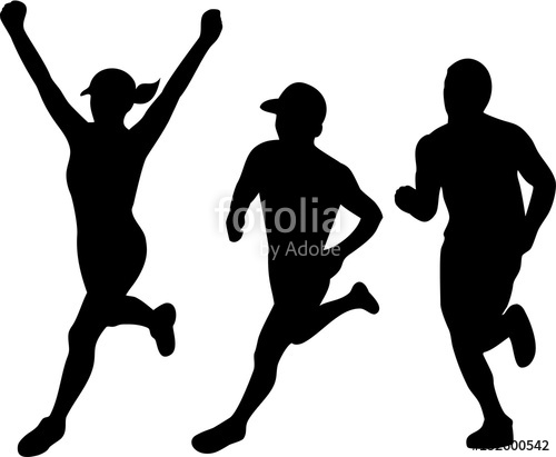 500x411 Marathon Runners Silhouette Collection Set Stock Image