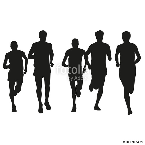 500x500 Set Of Runners Silhouettes. Running Men. Front View, Stock Image