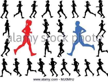 420x320 Female Marathon Runners Silhouettes