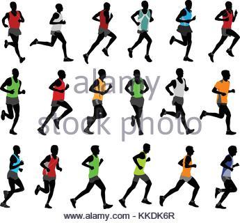 345x320 Marathon Runners Silhouettes