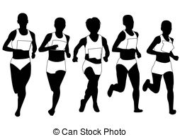 254x194 Group Of Runners Illustration Vector Clipart