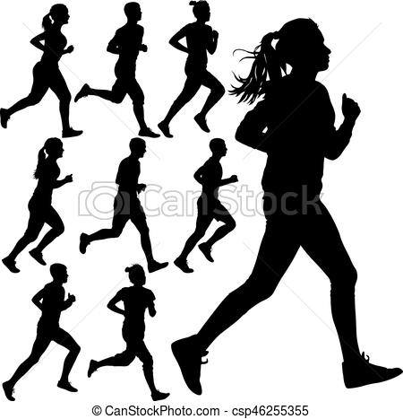 450x467 Set Of Silhouettes. Runners On Sprint, Men And Woman. Clipart