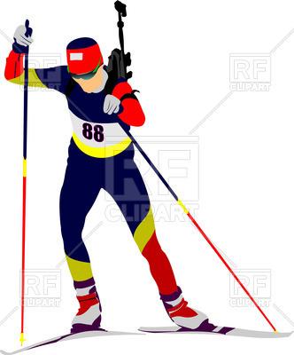 332x400 Silhouette Of Biathlon Runner Royalty Free Vector Clip Art Image