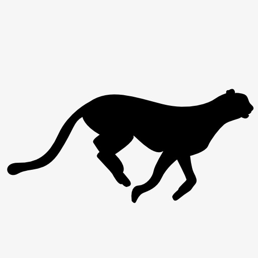 512x512 Cheetah Silhouette, Animal, Projection, Black Silhouette Png Image
