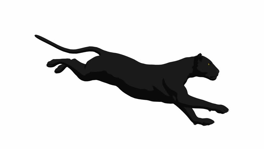 852x480 Running Panther Silhouette