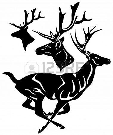 379x450 Running Deer Deer Head Black Vector Outline Over White