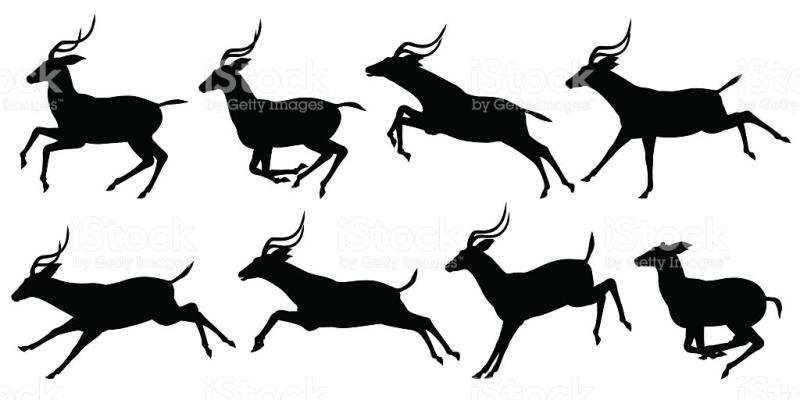 800x400 Running Deer Clipart