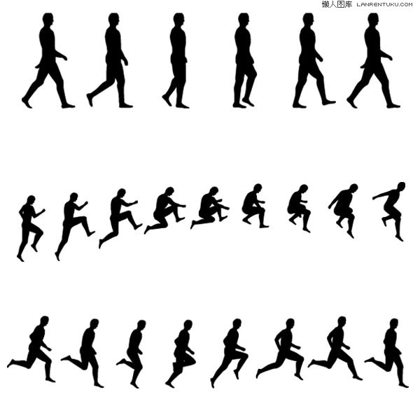 600x600 Continuous Action Sports Figure Silhouettes Vector Material My