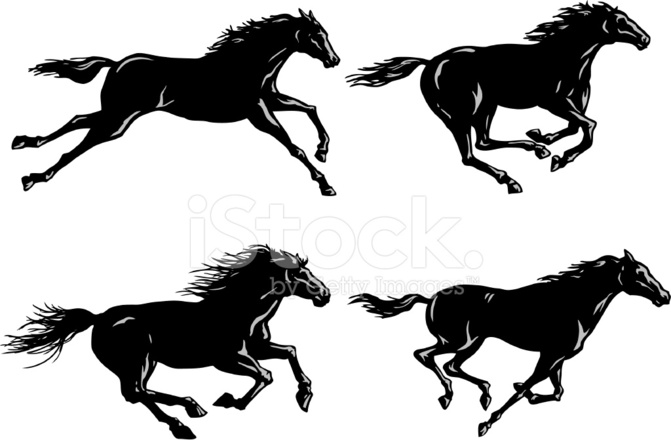 671x440 Silhouettes Of Horses Running Stock Vector