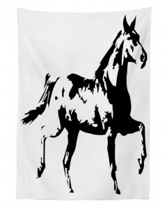 240x300 Tablecloth Running Horse Silhouette Printed Table Cover
