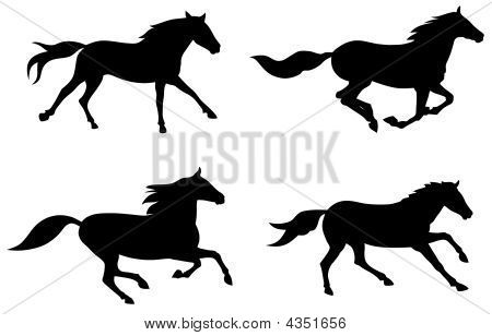 450x308 Picture Or Photo Of Abstract Vector Illustration Of Running Horses