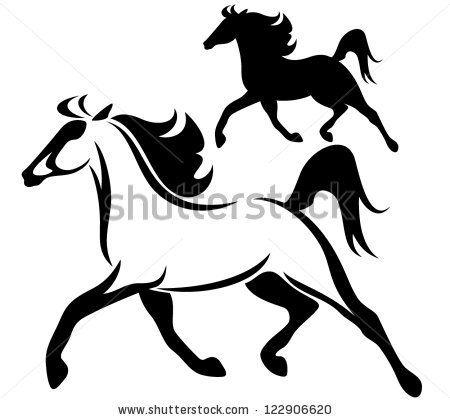 450x420 Running Horse Silhouette Tattoo Running Horse Black And White