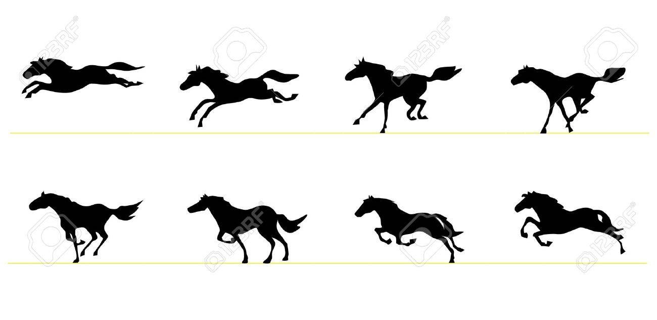 1300x633 Running Horse Silhouettes Royalty Free Cliparts Vectors And Stock