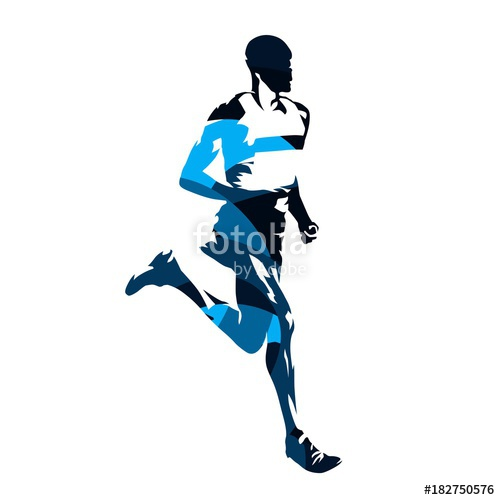 500x500 Running Man, Abstract Blue Vector Silhouette, Side View Stock