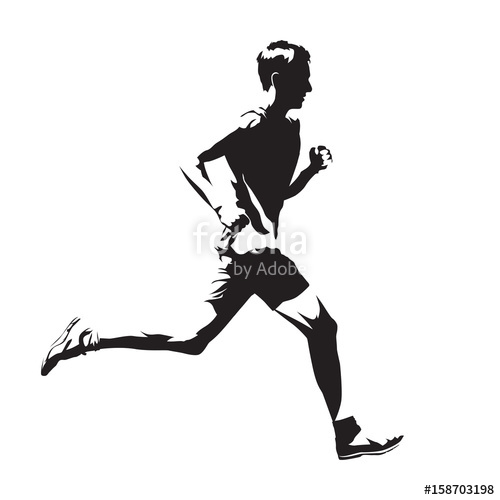 500x500 Running Man Vector Sketch, Abstract Silhouette, Side View Stock