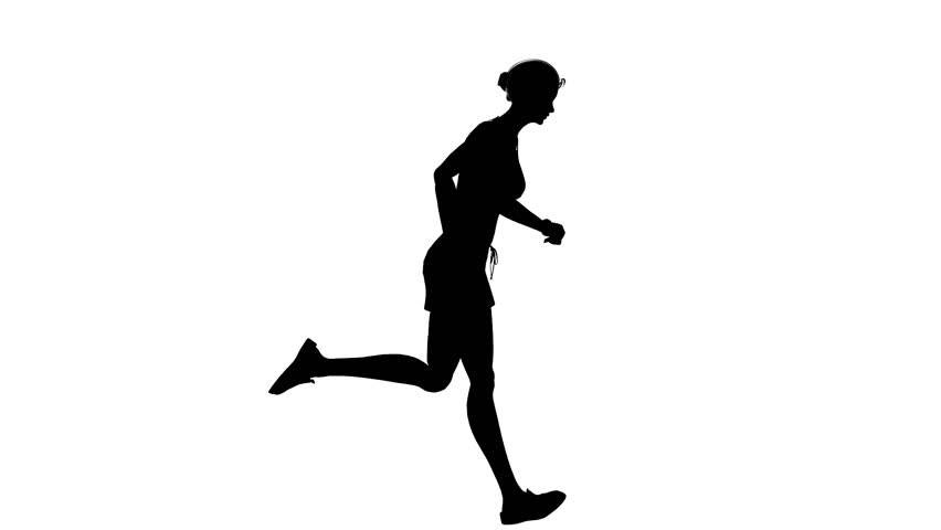 852x480 Animated Silhouette Loop Of A Man Running On A White Background