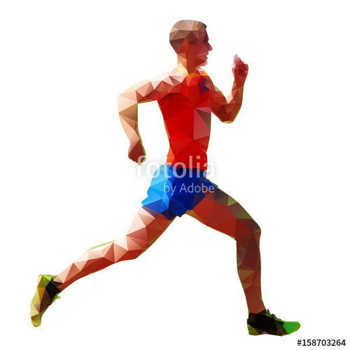 500x500 Geometric Running Man, Abstract Vector Silhouette, Low Poly Stock