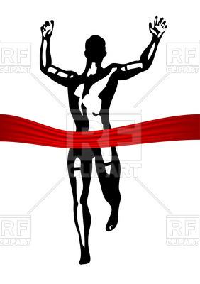 282x400 Running Man On Marathon Finish Line Royalty Free Vector Clip Art